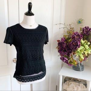 Talbots Crochet Black Faux Leather Trim Top